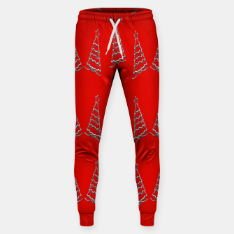 Thumbnail image of Christmas trees pattern on red Sweatpants, Live Heroes