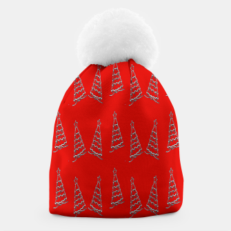Thumbnail image of Christmas trees pattern on red Beanie, Live Heroes