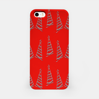 Thumbnail image of Christmas trees pattern on red iPhone Case, Live Heroes
