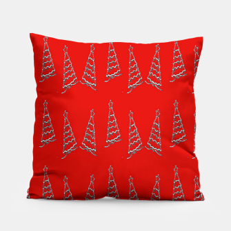 Thumbnail image of Christmas trees pattern on red Pillow, Live Heroes