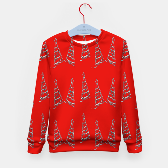 Thumbnail image of Christmas trees pattern on red Kid's sweater, Live Heroes