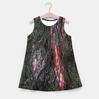 Thumbnail image of Red black tree mossy wood bark Girl's summer dress, Live Heroes
