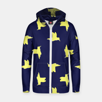 Thumbnail image of Yellow birds on blue Zip up hoodie, Live Heroes