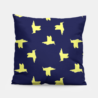 Thumbnail image of Yellow birds on blue Pillow, Live Heroes