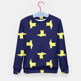 Thumbnail image of Yellow birds on blue Kid's sweater, Live Heroes