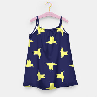 Thumbnail image of Yellow birds on blue Girl's dress, Live Heroes