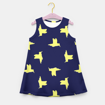 Thumbnail image of Yellow birds on blue Girl's summer dress, Live Heroes