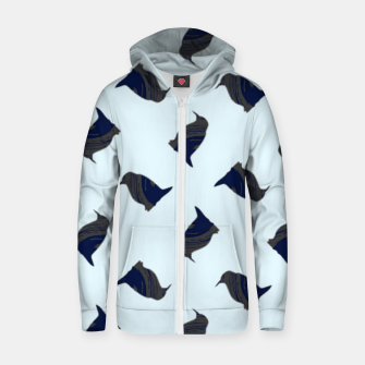 Thumbnail image of Penguin silhouette on blue Zip up hoodie, Live Heroes