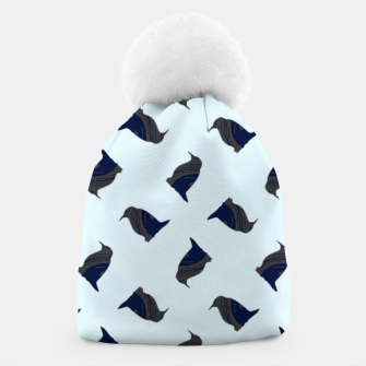 Thumbnail image of Penguin silhouette on blue Beanie, Live Heroes
