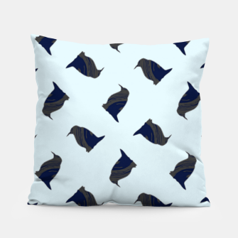Thumbnail image of Penguin silhouette on blue Pillow, Live Heroes