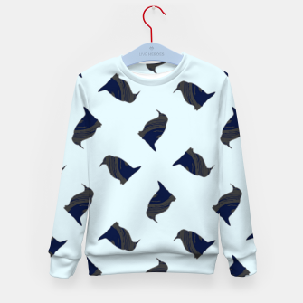 Thumbnail image of Penguin silhouette on blue Kid's sweater, Live Heroes