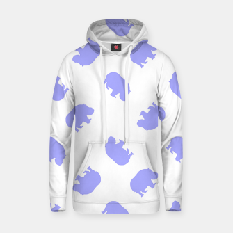 Thumbnail image of Blue hippo on white Hoodie, Live Heroes