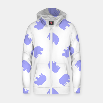 Thumbnail image of Blue hippo on white Zip up hoodie, Live Heroes