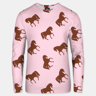 Miniatur Brown horses on pink Unisex sweater, Live Heroes
