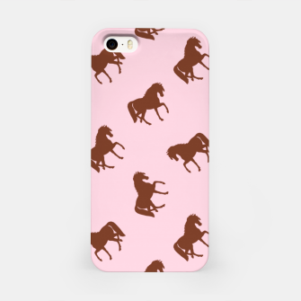 Miniatur Brown horses on pink iPhone Case, Live Heroes