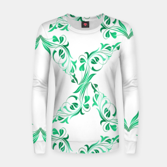 Green leaves abstract pattern Women sweater thumbnail image