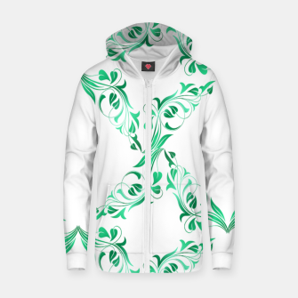 Green leaves abstract pattern Zip up hoodie thumbnail image