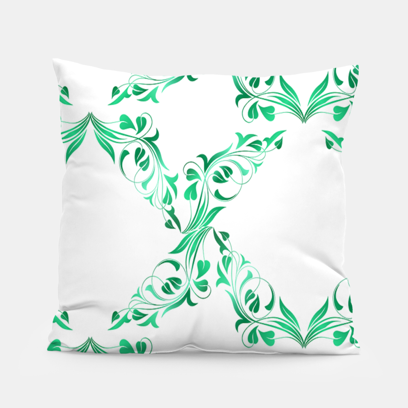 Image of Green leaves abstract pattern Pillow - Live Heroes