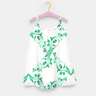 Thumbnail image of Green leaves abstract pattern Girl's dress, Live Heroes
