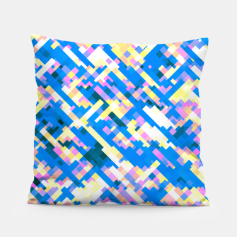 Thumbnail image of Sapphire labyrinth, small colored tiles arranged in mosaic Pillow, Live Heroes