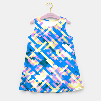 Thumbnail image of Sapphire labyrinth, small colored tiles arranged in mosaic Girl's summer dress, Live Heroes
