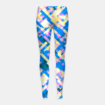 Thumbnail image of Sapphire labyrinth, small colored tiles arranged in mosaic Girl's leggings, Live Heroes