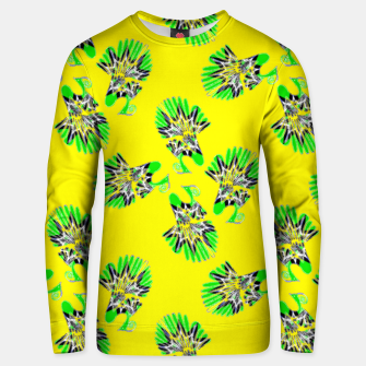 Thumbnail image of Colorful peacocks on yellow Unisex sweater, Live Heroes