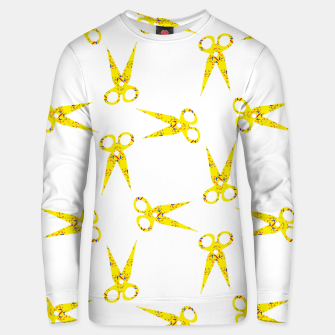 Thumbnail image of Yellow abstract scissors Unisex sweater, Live Heroes