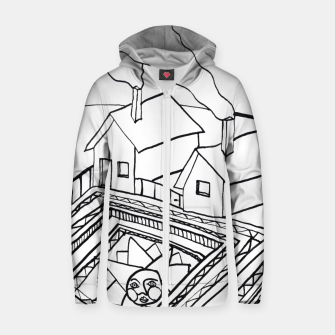 Thumbnail image of The Sun rests in the small Main Square of the Village Zip up hoodie, Live Heroes