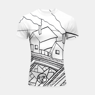 Thumbnail image of The Sun rests in the small Main Square of the Village Shortsleeve rashguard, Live Heroes