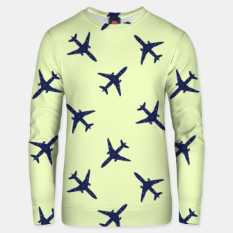 Thumbnail image of Blue boeing on green Unisex sweater, Live Heroes