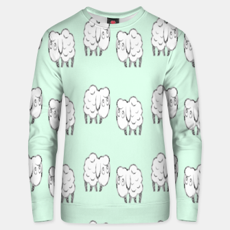 Thumbnail image of Sheep pattern on green Unisex sweater, Live Heroes