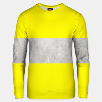 Thumbnail image of Gray textured stripe on yellow Unisex sweater, Live Heroes