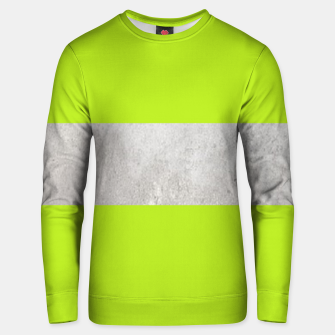 Thumbnail image of Gray textured stripe on green Unisex sweater, Live Heroes