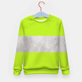 Thumbnail image of Gray textured stripe on green Kid's sweater, Live Heroes