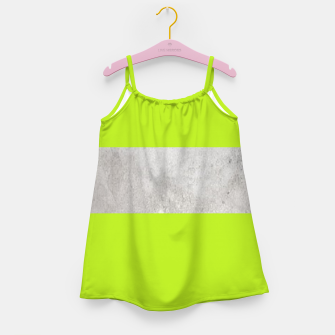 Thumbnail image of Gray textured stripe on green Girl's dress, Live Heroes