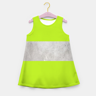 Thumbnail image of Gray textured stripe on green Girl's summer dress, Live Heroes