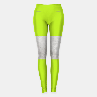 Thumbnail image of Gray textured stripe on green Leggings, Live Heroes