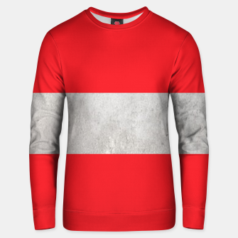 Thumbnail image of Gray textured stripe on red Unisex sweater, Live Heroes