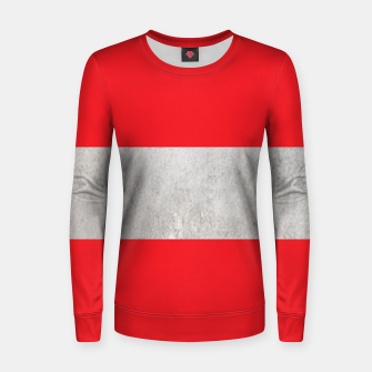 Thumbnail image of Gray textured stripe on red Women sweater, Live Heroes