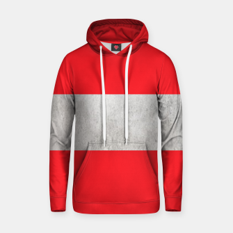 Thumbnail image of Gray textured stripe on red Hoodie, Live Heroes