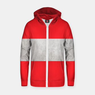 Thumbnail image of Gray textured stripe on red Zip up hoodie, Live Heroes