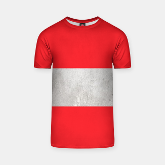 Thumbnail image of Gray textured stripe on red T-shirt, Live Heroes