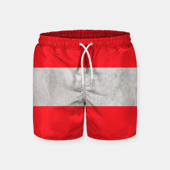 Thumbnail image of Gray textured stripe on red Swim Shorts, Live Heroes
