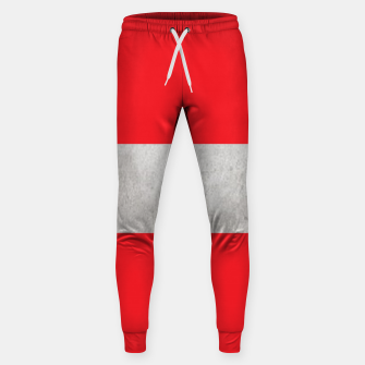 Thumbnail image of Gray textured stripe on red Sweatpants, Live Heroes