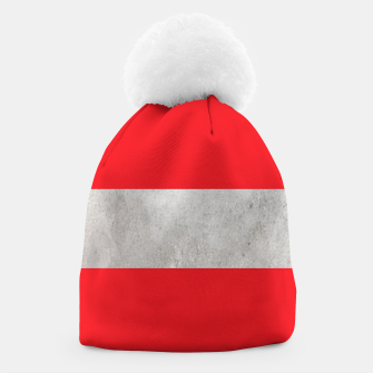 Thumbnail image of Gray textured stripe on red Beanie, Live Heroes