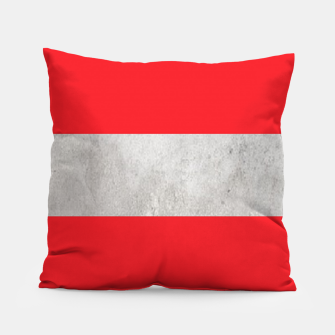 Thumbnail image of Gray textured stripe on red Pillow, Live Heroes