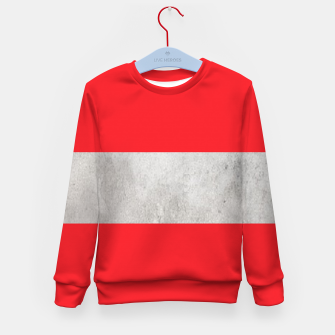 Thumbnail image of Gray textured stripe on red Kid's sweater, Live Heroes