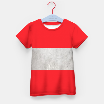 Thumbnail image of Gray textured stripe on red Kid's t-shirt, Live Heroes