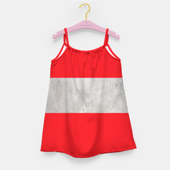 Thumbnail image of Gray textured stripe on red Girl's dress, Live Heroes